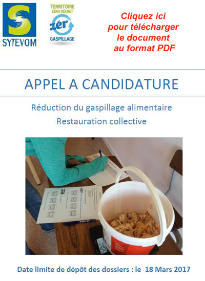 APPEL A CANDIDATURE Réduction du gaspillage alimentaire Restauration collective